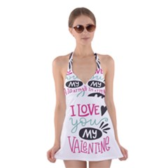 I Love You My Valentine (white) Our Two Hearts Pattern (white) Halter Swimsuit Dress