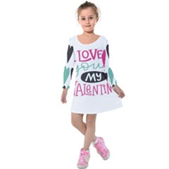 I Love You My Valentine / Our Two Hearts Pattern (white) Kids  Long Sleeve Velvet Dress