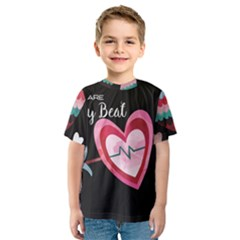 You Are My Beat / Pink And Teal Hearts Pattern (black)  Kids  Sport Mesh Tee