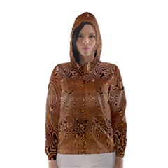 Circuit Board Pattern Hooded Wind Breaker (women) by Nexatart