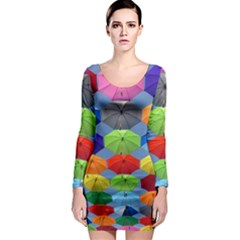 Color Umbrella Blue Sky Red Pink Grey And Green Folding Umbrella Painting Long Sleeve Bodycon Dress