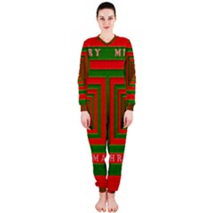 Fabric 3d Merry Christmas Onepiece Jumpsuit (ladies)  by Nexatart