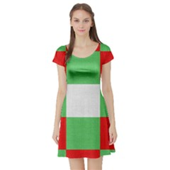 Fabric Christmas Colors Bright Short Sleeve Skater Dress