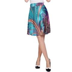 Feather Fractal Artistic Design A-line Skirt by Nexatart