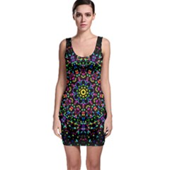 Fractal Texture Sleeveless Bodycon Dress by Nexatart
