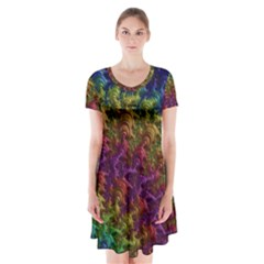 Fractal Art Design Colorful Short Sleeve V Neck Flare Dress by Nexatart