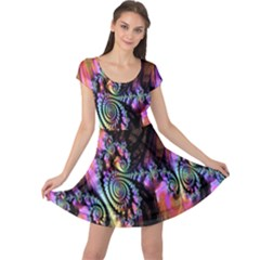 Fractal Colorful Background Cap Sleeve Dresses