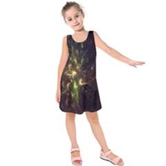 Fractal Flame Light Energy Kids  Sleeveless Dress by Nexatart