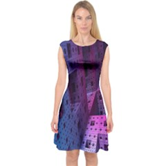 Fractals Geometry Graphic Capsleeve Midi Dress by Nexatart