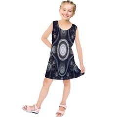 Fractal Beige Blue Abstract Kids  Tunic Dress by Nexatart