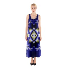 Fractal Fantasy Blue Beauty Sleeveless Maxi Dress by Nexatart