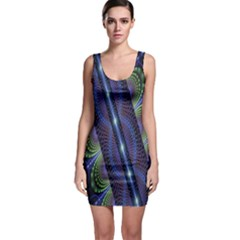 Fractal Blue Lines Colorful Sleeveless Bodycon Dress