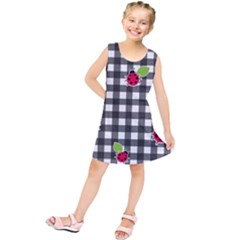 Ladybugs Plaid Pattern Kids  Tunic Dress by Valentinaart
