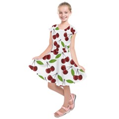 Cherry Pattern Kids  Short Sleeve Dress by Valentinaart