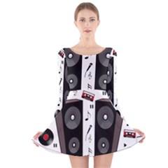 Loud Music Long Sleeve Velvet Skater Dress by Valentinaart