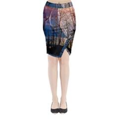 Full Moon Forest Night Darkness Midi Wrap Pencil Skirt by Nexatart