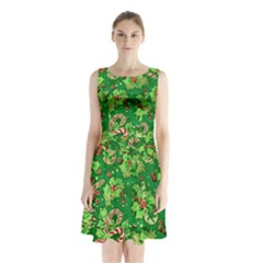 Green Holly Sleeveless Chiffon Waist Tie Dress