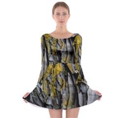 Grey Yellow Stone  Long Sleeve Skater Dress by Nexatart