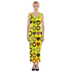 Heart Circle Star Fitted Maxi Dress by Nexatart