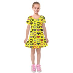 Heart Circle Star Kids  Short Sleeve Velvet Dress