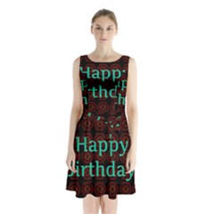 Happy Birthday! Sleeveless Chiffon Waist Tie Dress