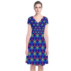 Honeycomb Fractal Art Short Sleeve Front Wrap Dress