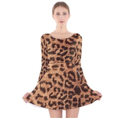 Leopard Print Animal Print Backdrop Long Sleeve Velvet Skater Dress by Nexatart