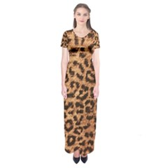 Leopard Print Animal Print Backdrop Short Sleeve Maxi Dress by Nexatart