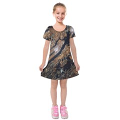 Night View Kids  Short Sleeve Velvet Dress