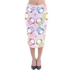Owl Bird Cute Pattern Velvet Midi Pencil Skirt by Nexatart