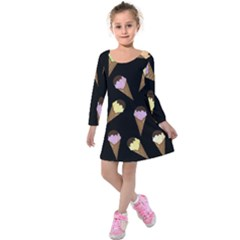 Ice Cream Cute Pattern Kids  Long Sleeve Velvet Dress by Valentinaart