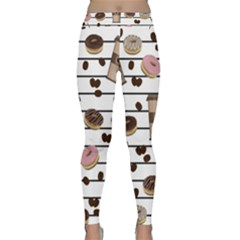 Donuts And Coffee Pattern Classic Yoga Leggings by Valentinaart