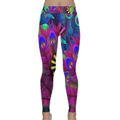Peacock Abstract Digital Art Classic Yoga Leggings by Nexatart