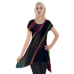 Rainbow Ribbons Short Sleeve Side Drop Tunic by Nexatart