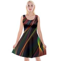 Rainbow Ribbons Reversible Velvet Sleeveless Dress by Nexatart