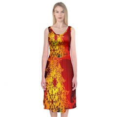 Red Silhouette Star Midi Sleeveless Dress by Nexatart