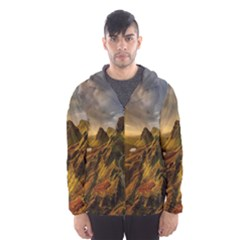 Scotland Landscape Scenic Mountains Hooded Wind Breaker (men)