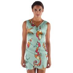 Seahorse Seashell Starfish Shell Wrap Front Bodycon Dress by Nexatart