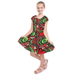 Seamless Tile Background Abstract Kids  Short Sleeve Dress
