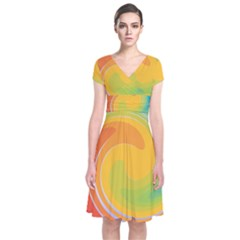 Rainbow Swirl Short Sleeve Front Wrap Dress by OneStopGiftShop