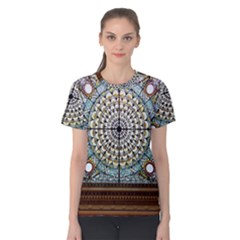 Stained Glass Window Library Of Congress Women s Cotton Tee by Nexatart