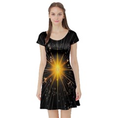 Star Christmas Advent Decoration Short Sleeve Skater Dress by Nexatart