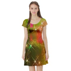 Star Christmas Background Image Red Short Sleeve Skater Dress by Nexatart
