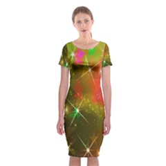Star Christmas Background Image Red Classic Short Sleeve Midi Dress by Nexatart