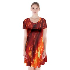 Star Christmas Pattern Texture Short Sleeve V Neck Flare Dress by Nexatart