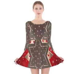 Star Wood Star Illuminated Long Sleeve Velvet Skater Dress by Nexatart