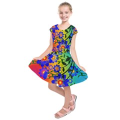 Abstract Background Backdrop Design Kids  Short Sleeve Dress by Amaryn4rt