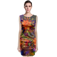 Abstract Flowers Floral Decorative Classic Sleeveless Midi Dress by Amaryn4rt