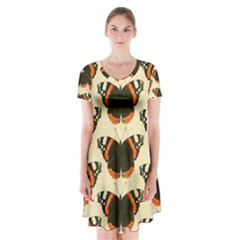 Butterfly Butterflies Insects Short Sleeve V Neck Flare Dress by Amaryn4rt
