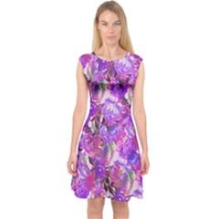 Flowers Abstract Digital Art Capsleeve Midi Dress by Amaryn4rt